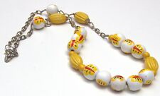 """Bright & Colorful Yellow Butterflies painted on White beads 34"""" Beaded Necklace."""