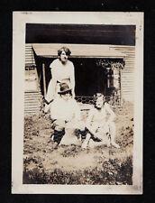 Vintage Antique Photograph Three Women In Backyard - Crazy Hat