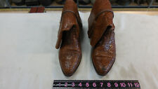 RARE BRAGANO COLE-HAAN BROWN LEATHER BRAIDED BASKET WEAVE BOOTS 8 M MENS/WOMENS?