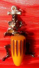 Vintage Bakelite Conga Drum Goldtone Drummer Tribal Figural C.W. Worth Pendant