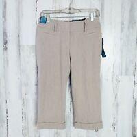 Capri Pants Women's Size 2 Petite 2P Curvy Fit Stretch Tan  Apt. 9