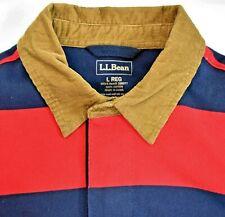 LL Bean Horizontal Striped Rugby Polo Long Sleeve Shirt Corduroy Collar L EUC