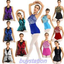 Women Girls Ballet Leotard Dancewear Sequined Skating Gymnastics Jazz Bodysuit