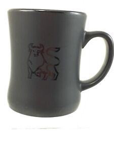 Merrill Lynch Bull Large Black Coffee Mug LRG Handle Bull Logo Matt Finish NICE!