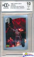 1998 Upper Deck #124 Michael Jordan Sticker BECKETT 10 MINT Bulls HOF