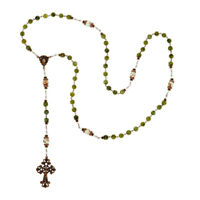 "Connemara Marble Bronzetone Antiqued 49"" Rosary Mint Green Glass Beads QVC"