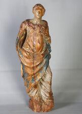 Grande sculpture du 18 éme siècle, en bois polychrome massif, 71cm