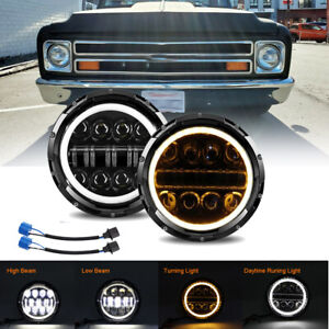 "For Chevrolet C10 C20 C30 K10 K20 K30 Camaro Pickup 7"" LED Halo Headlight Pair"