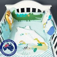 1.8m 5 Pc Jungle Theme Cotton Baby Nursery Thick Cot Crib Cushion Bed Protector