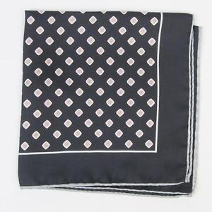 """Eton Navy Blue Pink Green Square 100% Silk Pocket square 13"""" Made in Italy"""