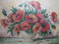 Old Still Life Floral Bouquet Flowers Oil On Canvas 20x28 Signed Art Painting
