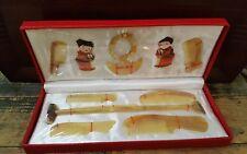 Chinese Presentation Gift Box Set Ox or Sheep Horn Combs Bracelet Back Scratcher