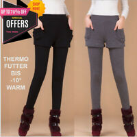 MiniRock Winter Leggings Thermo Futter Legging warme Damen Hose 2 IN 1 Leggins