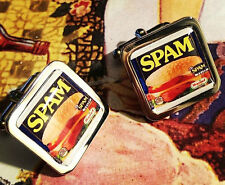 Unique! SPAM CUFFLINKS chrome TINNED MEAT designer GIFT fab RETRO mixed up dolly