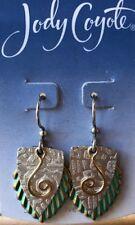 Jody Coyote Earrings JC0586 New SMB483 Made USA silver green dangle