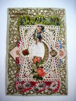 Elaborate Victorian Valentine Card - Birds Sitting on Branches & Die Cut Scraps*