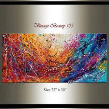 "Painting Acrylic 72"" Jackson Pollock style, Abstract Art on canvas Drip Art"