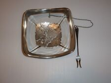 Vintage Georges Briard Square Bowl w Attached Fork, Silver Tone Overlay Florals