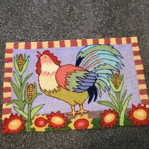 """Jellybean Colorful Hand Hooked Rooster Accent Rug 21""""x 34"""" Washable Folk Art"""