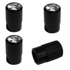 4 Black Billet Aluminum Knurled Tire Air Valve Stem Caps - SILVER CROSS B DC1