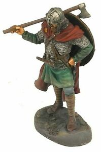 COLLECTIBLE PAINTING TIN SOLDIER VIKING WITH AX AND SHIELD 75 MM