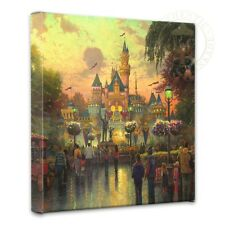 "Disneyland 50th Anniversary Thomas Kinkade Disney 14""x14"" Gallery Wrapped Canvas"