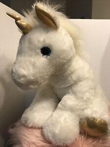 White Unicorn Plush Stuffed Animal Large Aurora 25' Pre-owned!