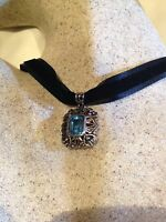Vintage Genuine Blue Topaz 925 Sterling Silver Necklace