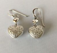 Signed 925 Sterling Silver Real Diamond Heart Dangle Earrings on Wire