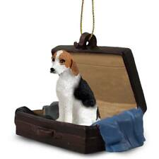 American Foxhound Traveling Companion Dog Figurine In Suit Case Ornament