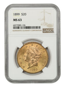 1899 $20 NGC MS63 - Liberty Double Eagle - Gold Coin