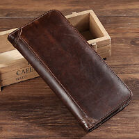 Real Genuine Leather Men Bifold Long Wallet Cash Pocket Card Holder Clutch Purse