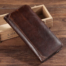 Mens Real Cow Leather Bifold Wallet Pocket Credit Card Holder Vintage Long Purse