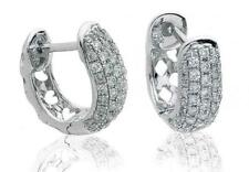 Diamond Huggie Hoop Earrings for Pierced Ears 0.40ct F VS in 18ct White Gold