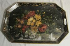 """VERY LARGE Hand Painted Metal TOLEWARE TRAY -- 26"""" x 18"""" Octagon, Floral Design"""