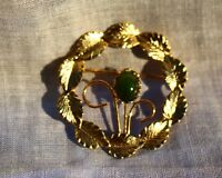 BROOCH wreath of leaves and flower with jade Bud,,,,,,,,,,,,,,,