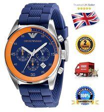 NEW Emporio Armani AR5864 Men's Gents Blue Sportivo Chronograph Watch Blue Dial