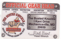 official gear head license Busted Knuckle Identification ID card Drivers License
