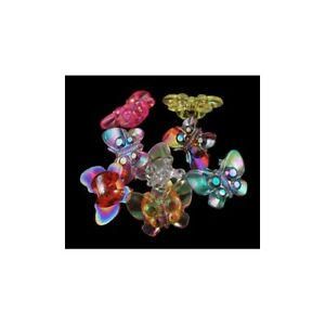 Acrylic Buttons Mixed-Colour Butterfly 15 x 21mm Shank Pack Of 20