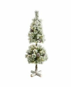 Nearly Natural Flocked Artificial Christmas Tree Topiary with 50 Warm Led Lights