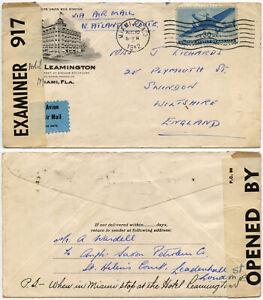 1942 WW2 CENSORED LEAMINGTON HOTEL ADVERTISING MIAMI USA to GB