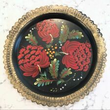 "Vintage 12"" Round Tole Tray Floral Handpainted Black Red Gold Edges"