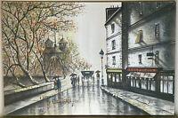 Large Vintage Mid Century Impressionist Oil Painting Paris Notre Dame Signed