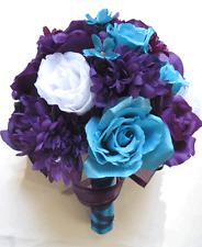 Wedding Bouquet Bridal Silk flowers PURPLE PLUM TURQUOISE  WHITE 19 pcs package