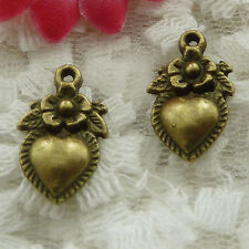 Free Ship 80 pieces bronze plated flower heart charms 19x12mm #1110