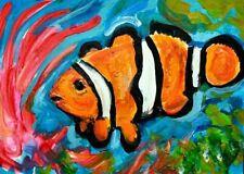Original CLOWN FISH ACEO Painting Reef Sea Anemone Ocean Orange Fish ART Atc