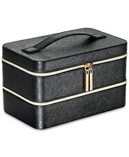 Lancome Black Synthetic Leather Two Level Train Case Makeup Box Organizer Gift