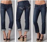 William Rast Belle Cuffed Cropped Capri Low Rise Jean, Dark Wash Size 27 R4027CD