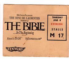 Vintage The Bible Movie Ticket Stub From 1967 Hoyts Century Cinema Large Size