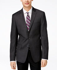 $695 CALVIN KLEIN Slim Fit Wool Sport Coat Gray Check SUIT JACKET BLAZER 44 S